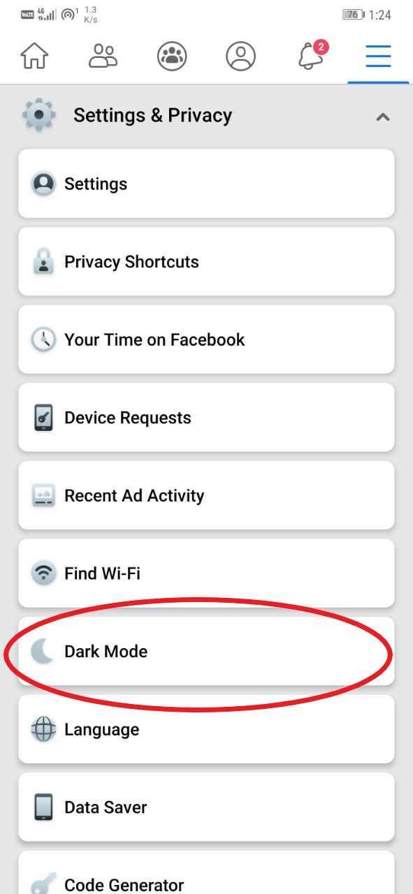 Enable Dark Mode in the Facebook App Android
