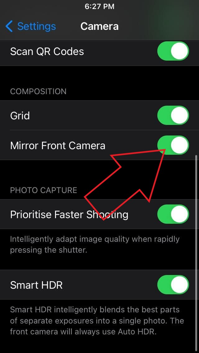 Mirror Front Camera Selfies on iPhone X, iPhone 8, iPhone 7, iPhone SE, and iPhone 6s-series