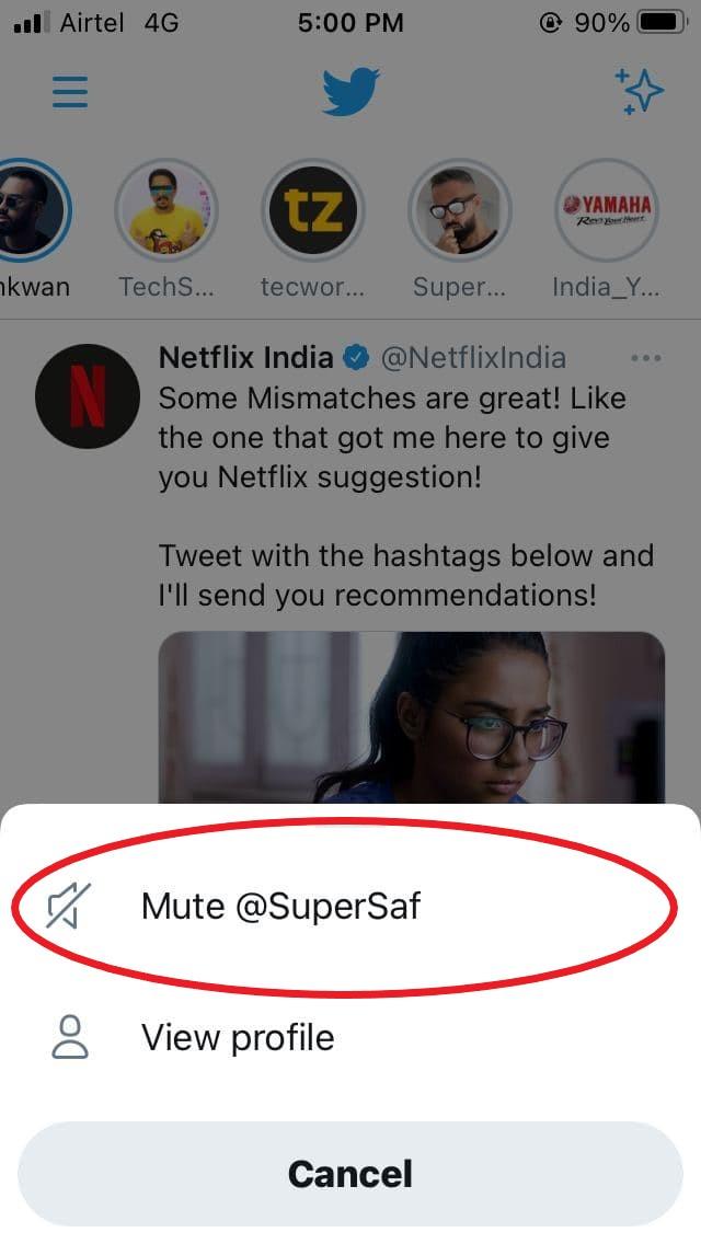 Mute Fleets on Twitter on iPhone
