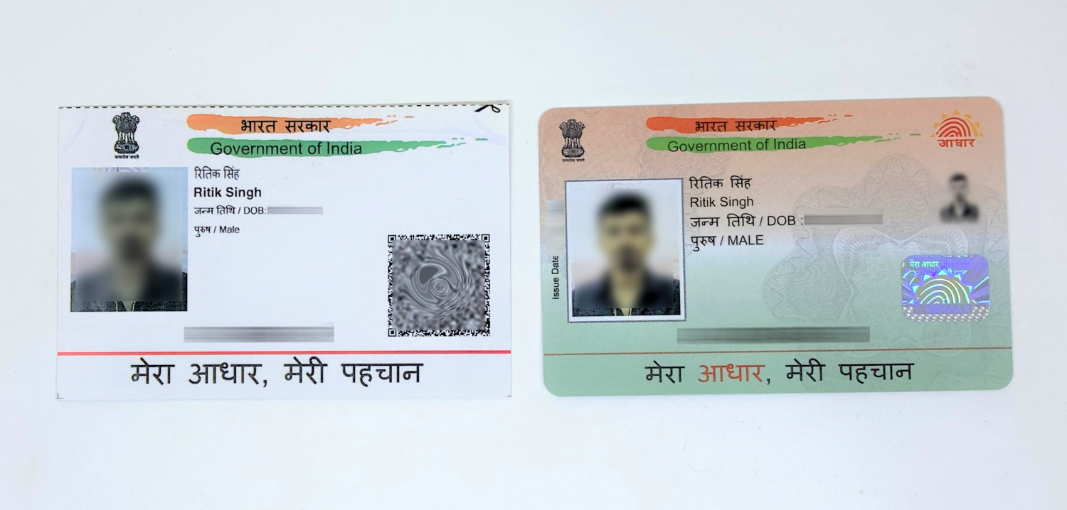 Standard Aadhaar Card, PVC Aadhaar Card (Left to Right)