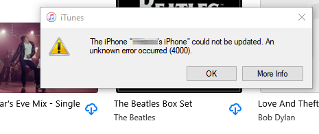 Fix iPhone Could Not Be Updated Error 4000 in iTunes