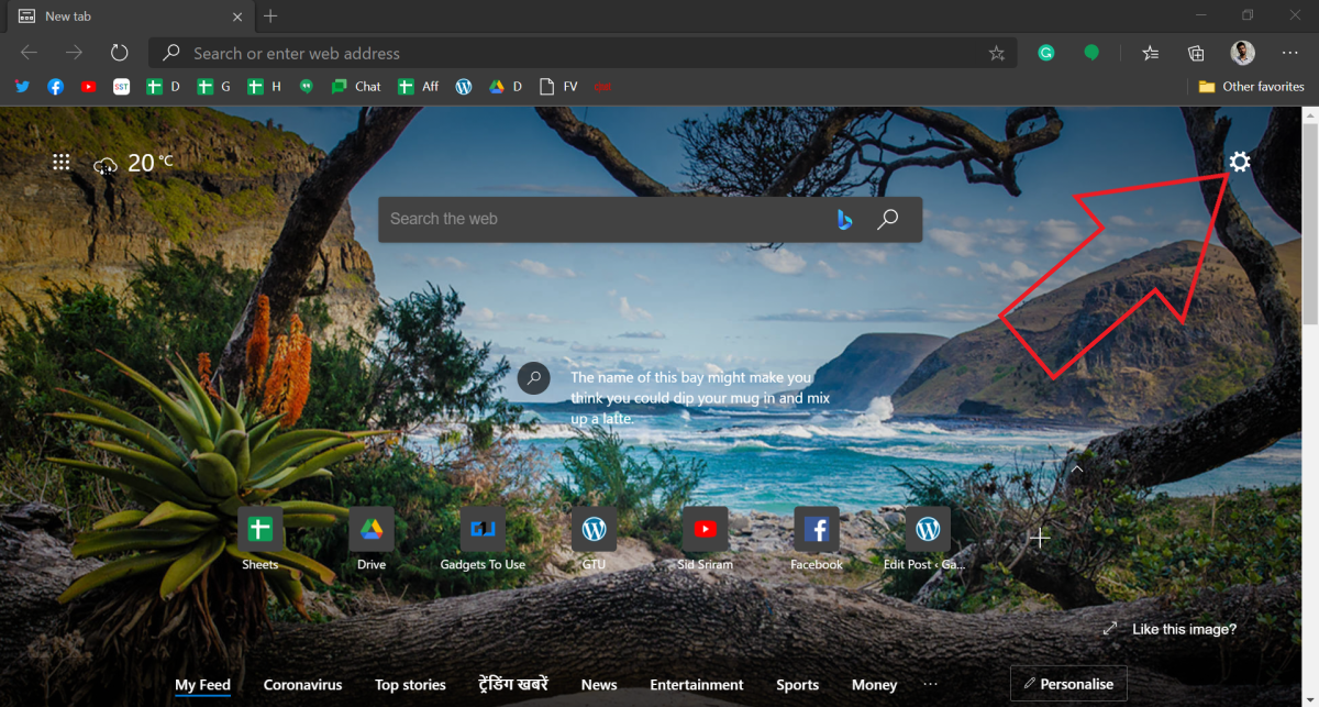 Change New Tab Background Image in Microsoft Edge