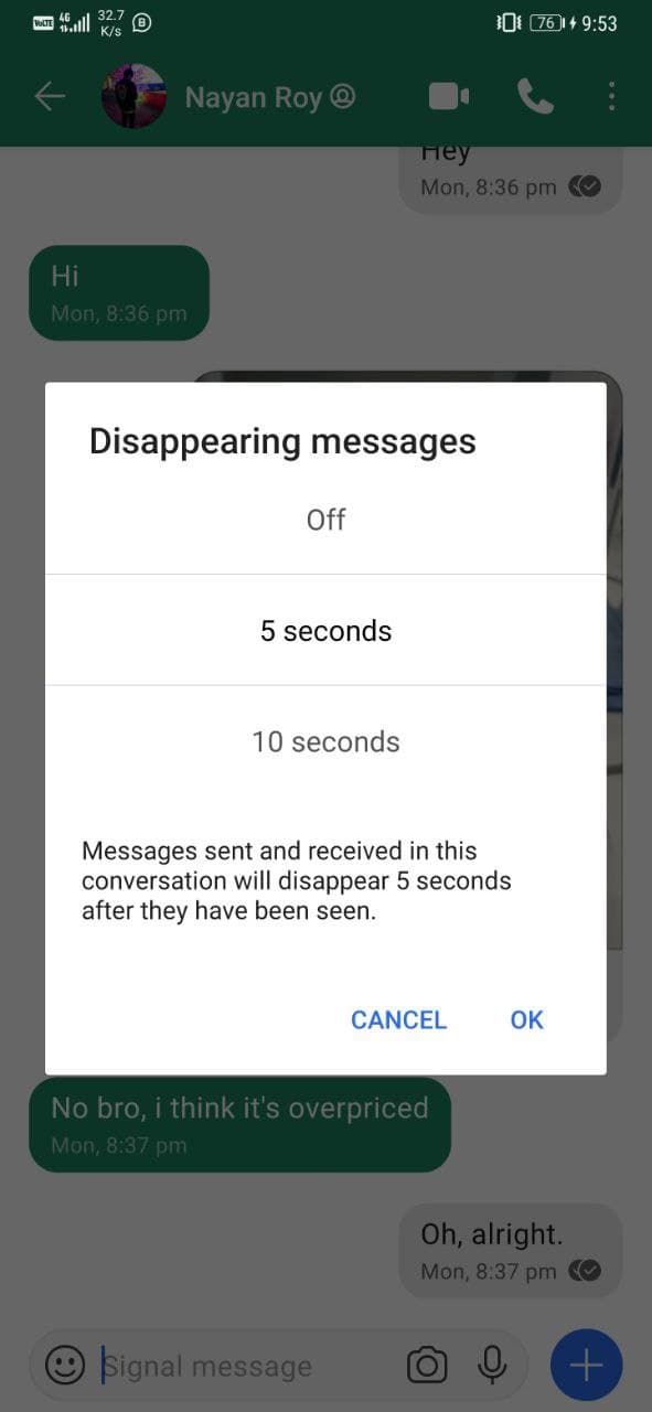 Send Disappearing Messages on Signal Messenger