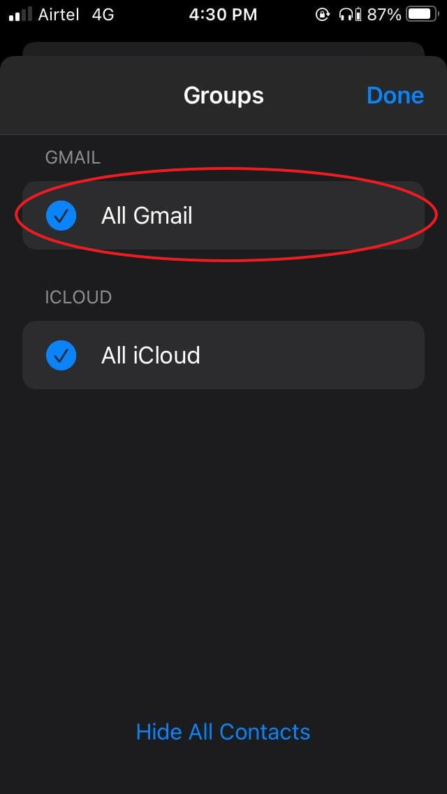 iOS Doesn't show Google Contacts