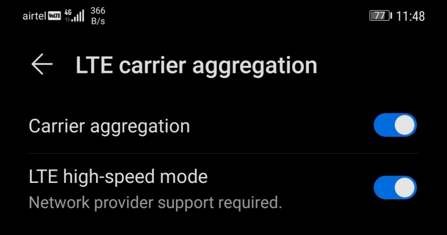 Enable Carrier Aggregation on Android Phone