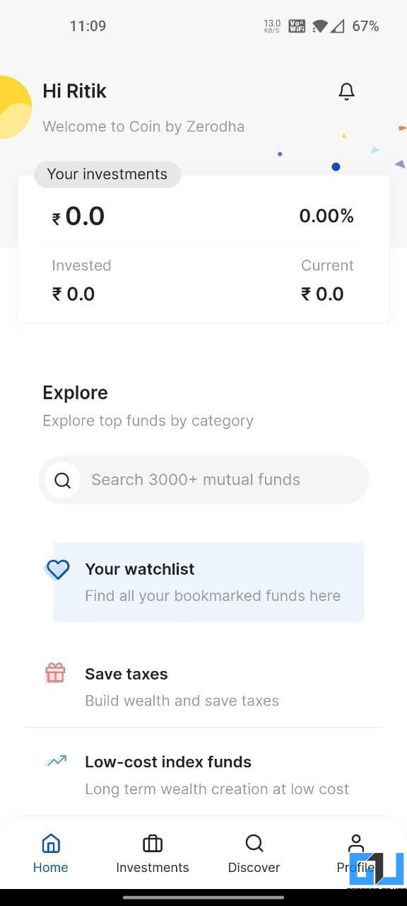 Coin by Zerodha- Best Direct Mutual Fund Apps in India