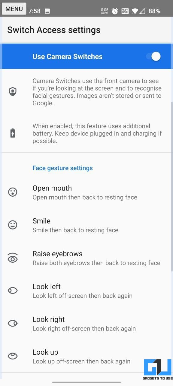 Facial Gestures to Control Android Phone