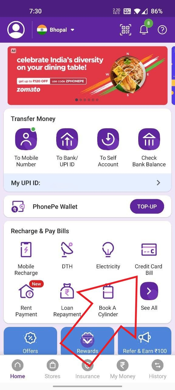 PhonePe- Best Credit Card Bill Apps in India with Cashback Offers
