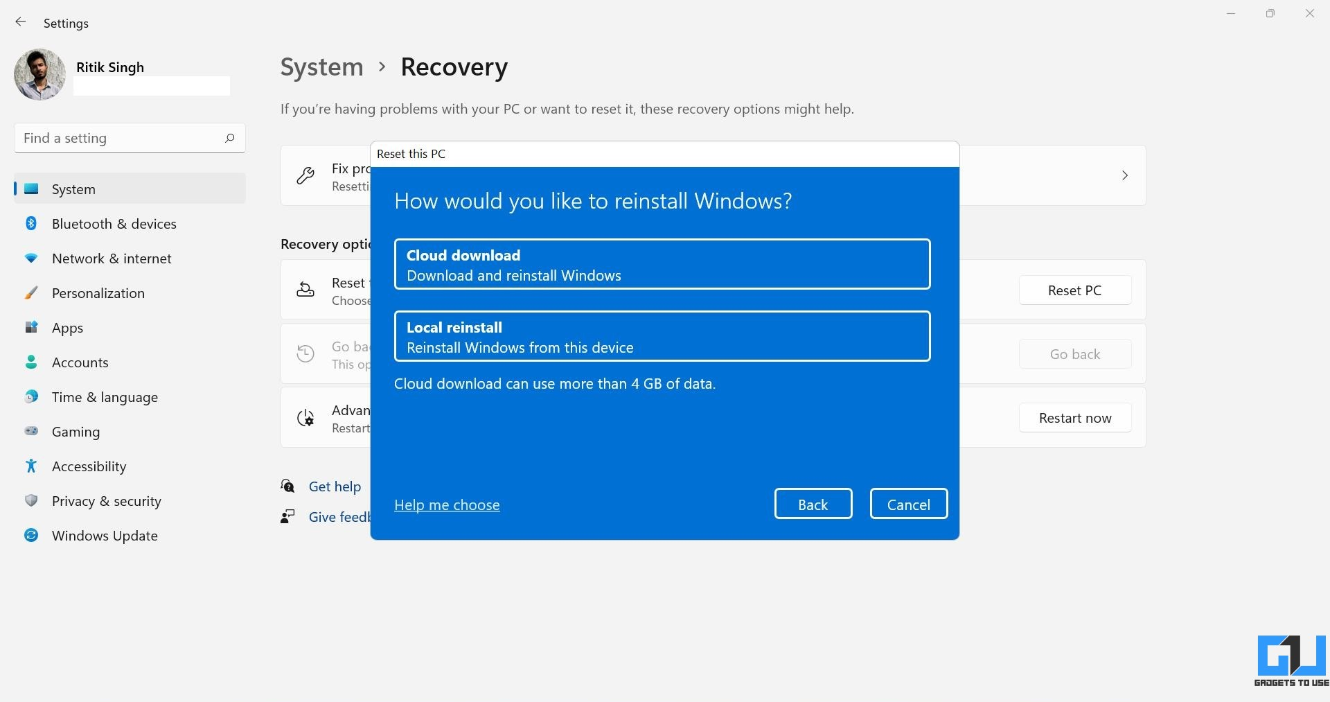 Cloud Download or Local Reinstall Windows 11