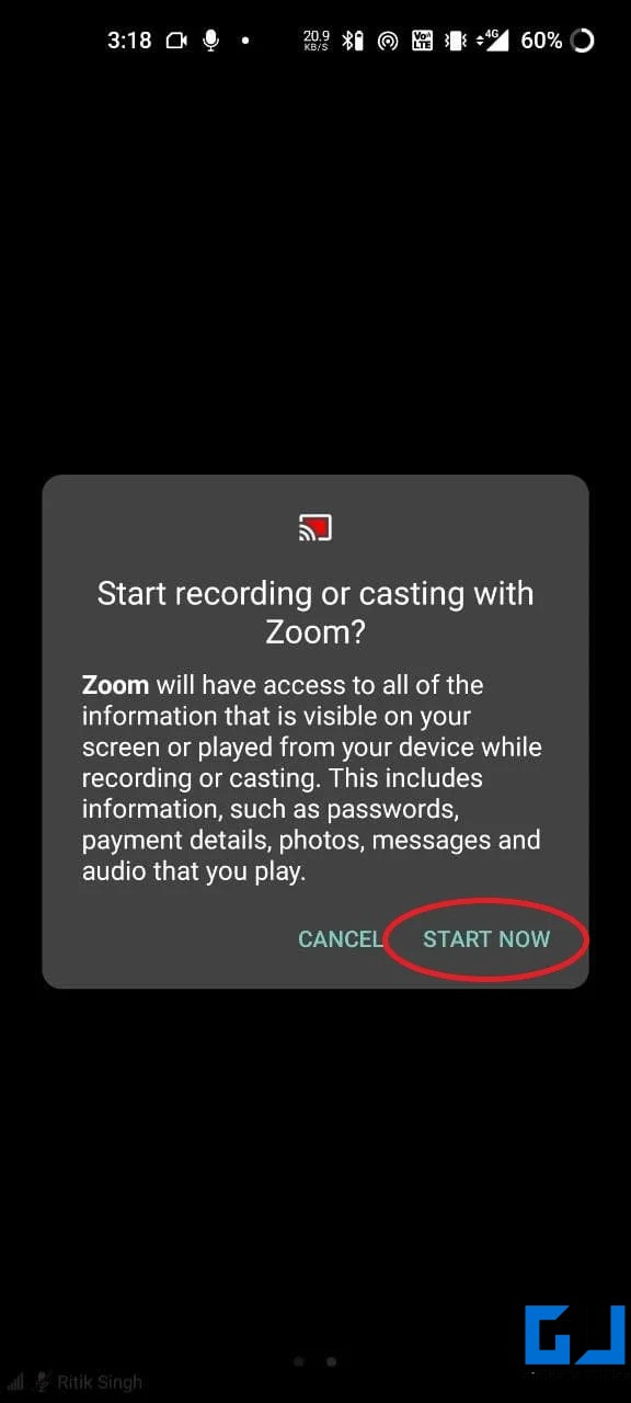 Share Phone Screen During Zoom Video Call