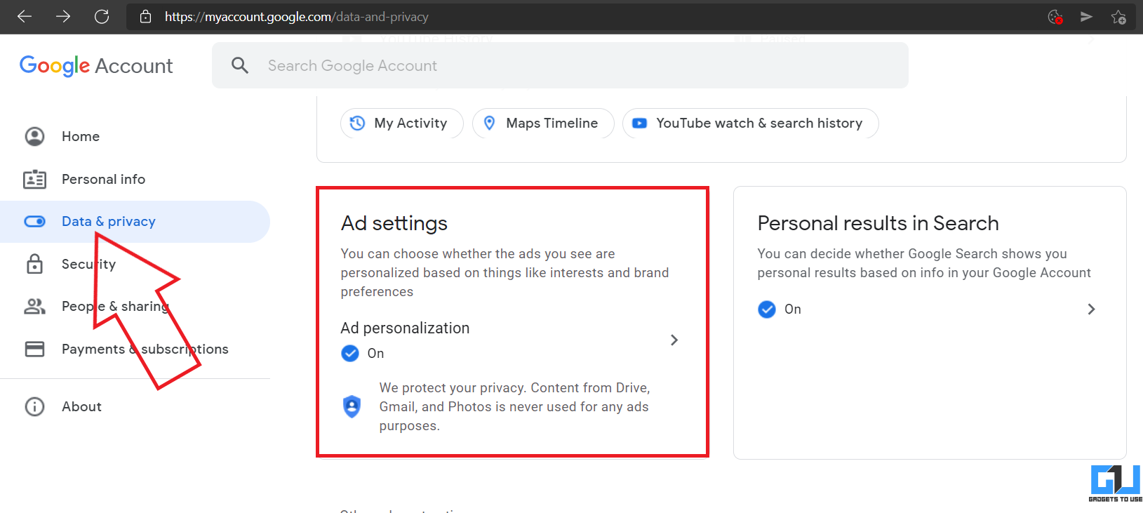 Block Personalized Ads by Google