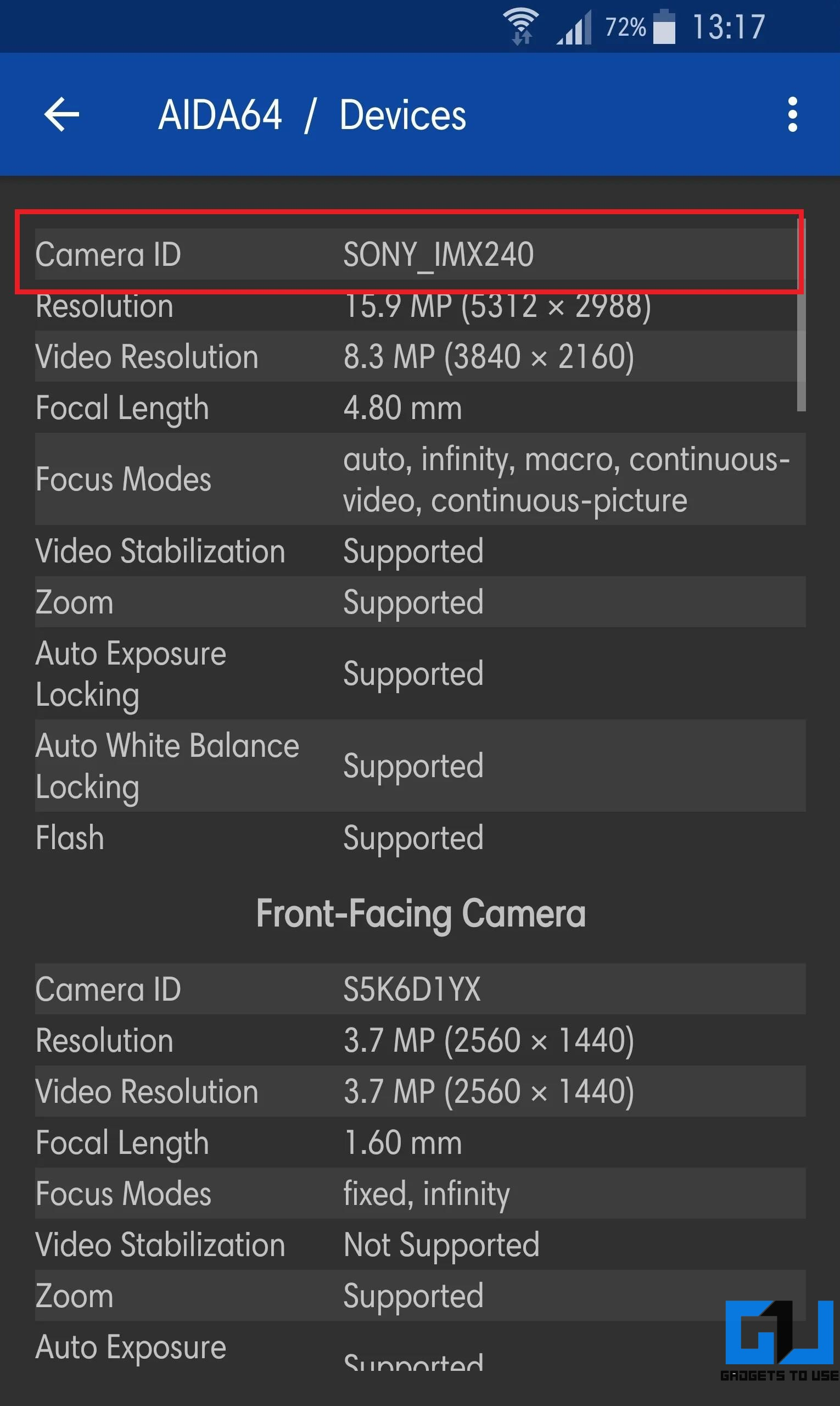 Find the Camera Sensor Model on Your Android Phone