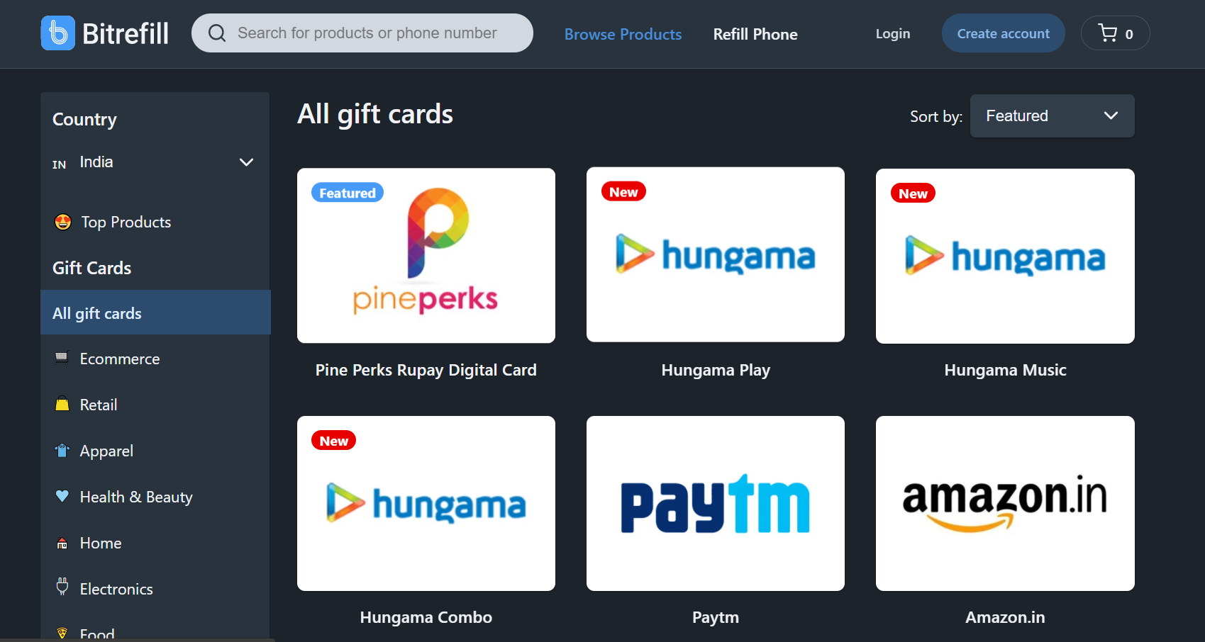 Buy Gift Cards in India using Bitcoin Crypto