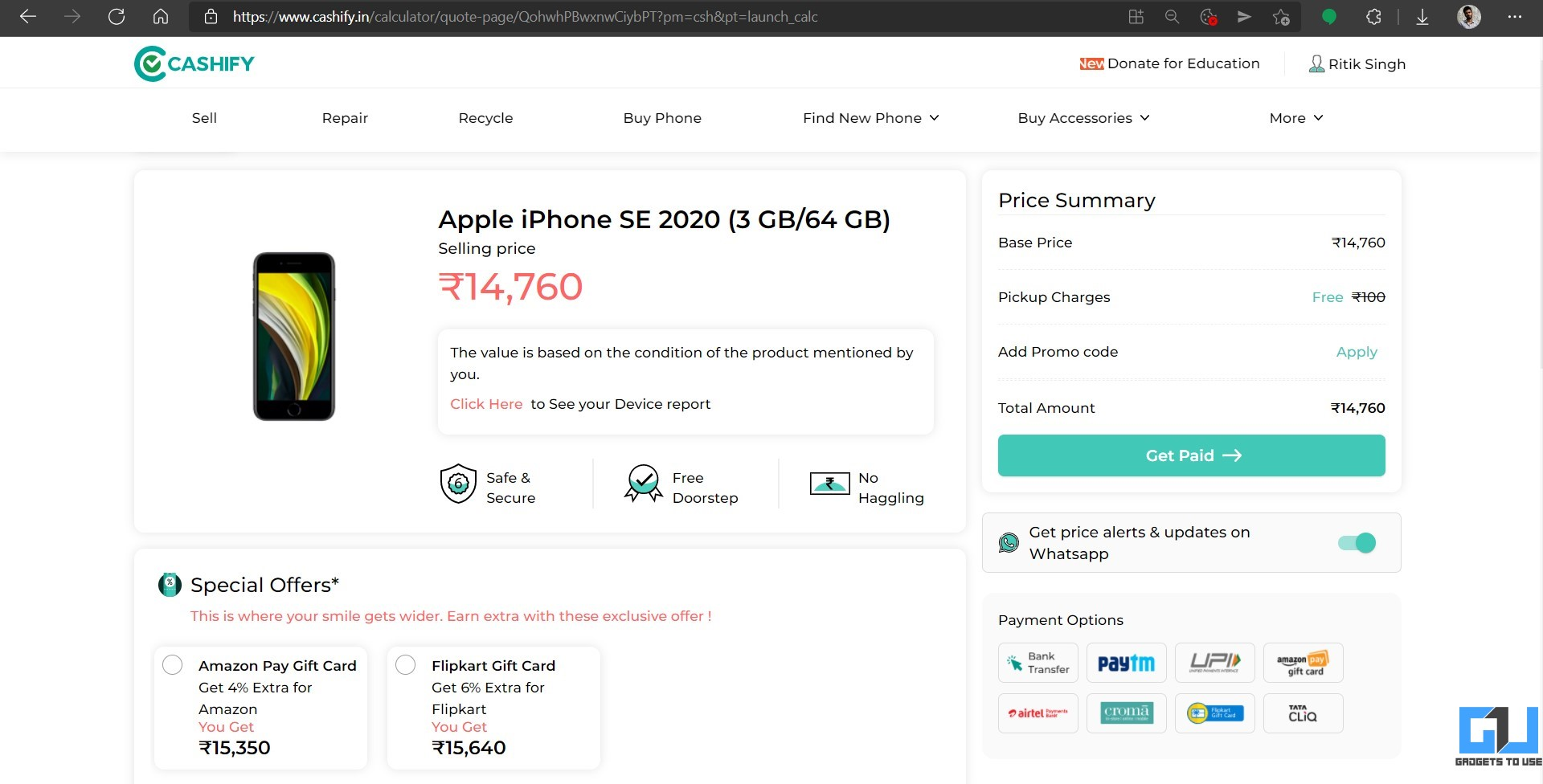 Sell Old Android or iPhone on Cashify