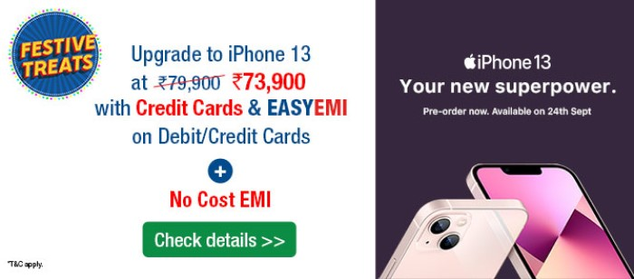 Get HDFC Card Discount on iPhone 13