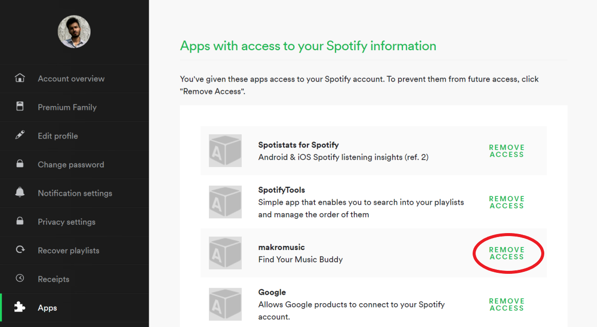 Remove App Access from Spotify