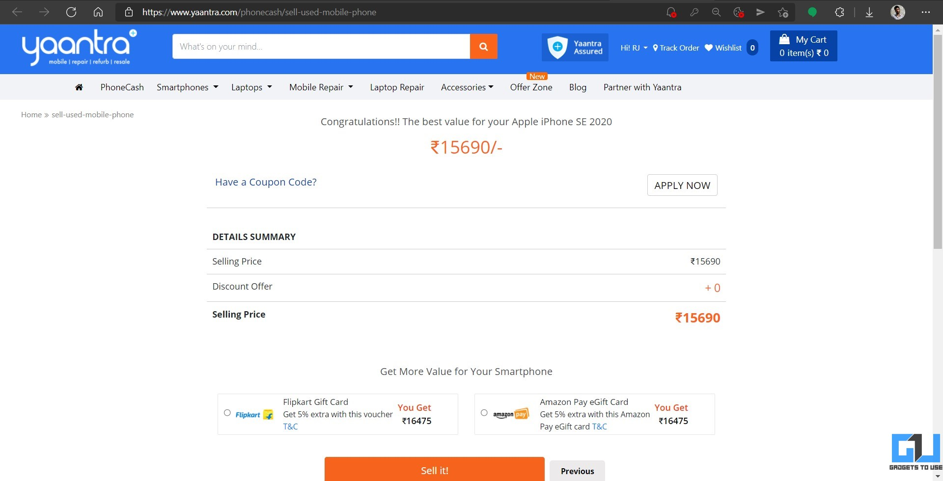 Sell Old Android or iPhone on Yaantra