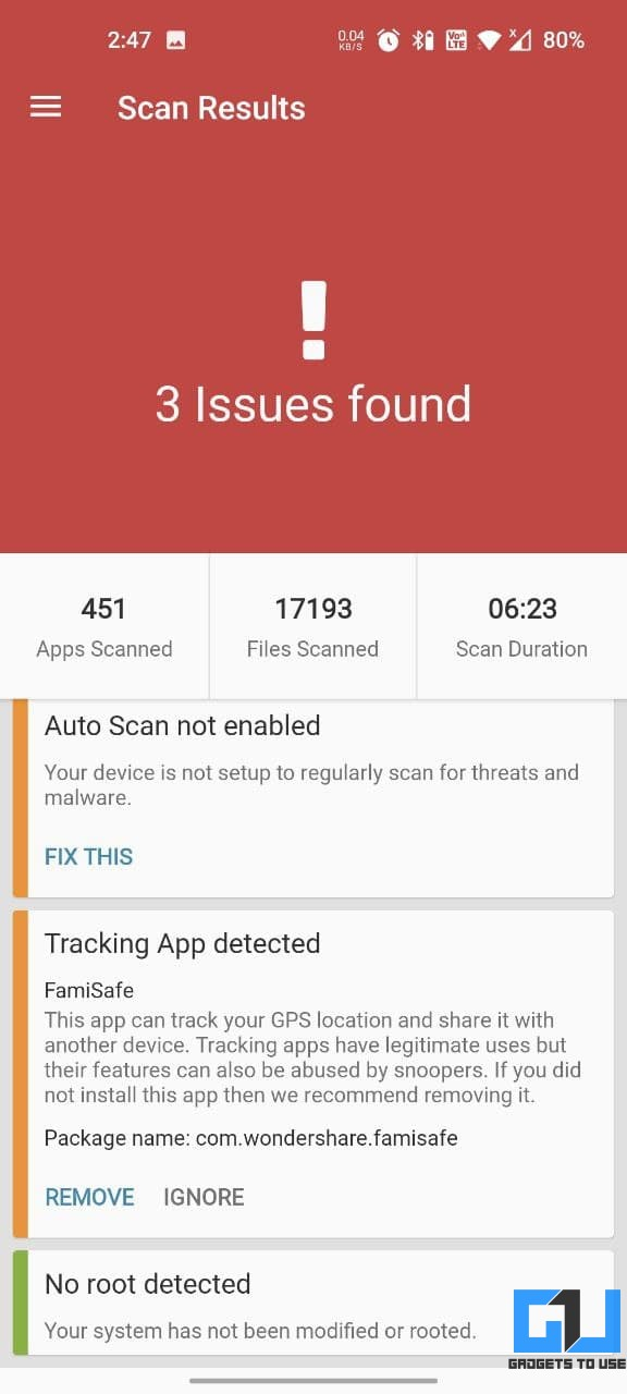 Scan for Spyware Trackers on Android Phone