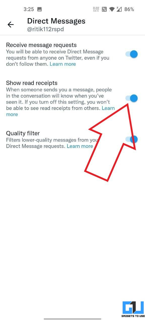 Disable Read Receipts on Twitter Android App